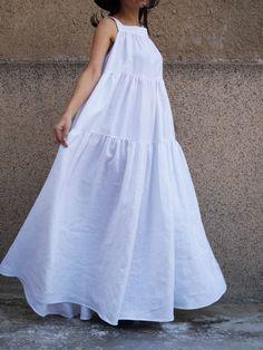 Layered White Kaftan/Handmade Dress/Asymmetrical Tunic/Maxi Dress/White Linen Dress/Casual Kaftan/Fashion Dress/Maxi Dress/XXL - My CMS White Linen Dresses, White Dress, Casual Dresses, Fashion Dresses, Summer Dresses, Summer Maxi, White Kaftan, Schneider, Handmade Dresses