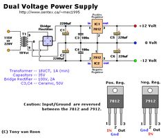 Electrical Engineering World: Dual Voltage Power Supply Electronics Projects, Electronic Circuit Projects, Electronics Basics, Hobby Electronics, Electronics Gadgets, Simple Electronics, Transformers, Electrical Symbols, Power Supply Circuit
