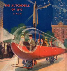 Hugo Gernsback's vision for the flying car of 1973, as it...