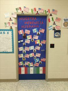 Hispanic heritage month door decoration my classroom Hispanic History Month, Hispanic Heritage Month, Preschool Class Rules, Kindergarten, Spanish Holidays, Middle School History, Classroom Door, Classroom Behavior, Spanish Lesson Plans