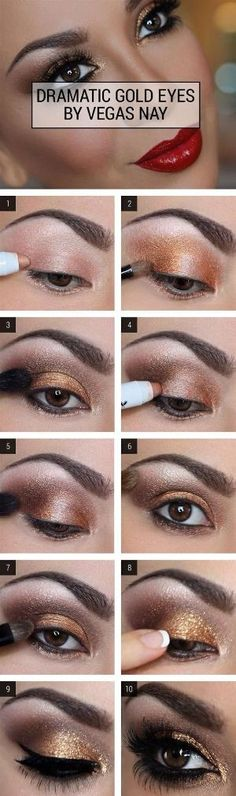 I want this for my 30th, Lord willing. Dramatic Gold Eye Makeup Tutorial - Brown Smoky Eye Makeup Tutorial - by melinda