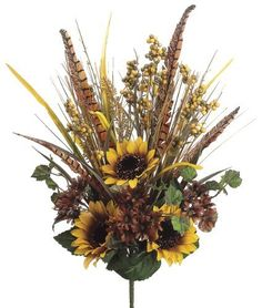 """Artificial 21"""" Sunflower/Daisy/Berry/Grass/Feather Mixed Bush by House of Silk Flowers, http://www.amazon.com/dp/B0096TBXYI/ref=cm_sw_r_pi_dp_hsMpsb1GXGK7E"""