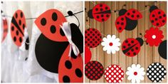 Lady bug baby shower decoration DIY garland wreath