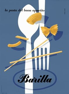 Barilla by Carboni 1935 Italy - Beautiful Vintage Poster Reproduction. This vertical Italian culinary / food poster features a white fork and spoon on a blue background with different pasta pieces. Giclee Advertising Print. Classic Posters
