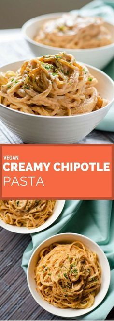 This vegan creamy chipotle pasta is so easy to make. The smokiness of the chipot… This vegan creamy chipotle pasta is so easy to make. The smokiness of the chipotle and the acidity of the lemon juice make it irresistible. A vegan Mexican recipe. Vegan Mexican Recipes, Veggie Recipes, Whole Food Recipes, Vegetarian Recipes, Cooking Recipes, Healthy Recipes, Vegetarian Italian, Diet Recipes, Vegetarian Protein