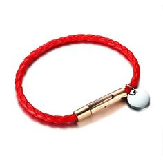 Unisex Braided PU Leather Personalized ID Bracelet/Bangle #personalizedgift #bracelet #accessories #couplegift