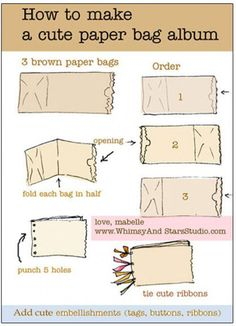 How to make a paper bag album! Easy craft for students to create their Chris Van Allsburg scrapbook. Paper Bag Books, Diy Paper Bag, How To Make A Paper Bag, Paper Bag Crafts, Paper Bag Album, Paper Bag Scrapbook, Mini Scrapbook Albums, Scrapbook Cards, Scrapbook Photos