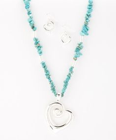 Take a look at the Turquoise & Silver Heart Necklace & Earrings on #zulily today!