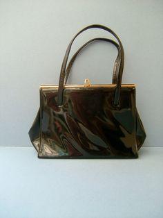 Vintage 1960s Black Patent Handbag Bag Purse by QueensParkVintage, $35.00