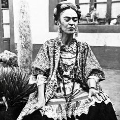 This photo of Frida Kahlo is so beautiful, not as we imagine her but as she was, older and not well. She died two years after this portrait at the age of 47, born today in 1907 her spirit never dies #catgkmuse - CaptainAndTheGypsyKid