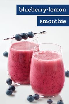 Blueberry-Lemon Smoothie – Blueberries and lemonade mix give this quick and easy smoothie its refreshing fruit flavor. This recipe makes enough for you and a friend!