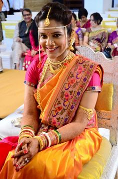Bright Yellow Paithaini Saree and Pink Blouse on a Marathi Bride
