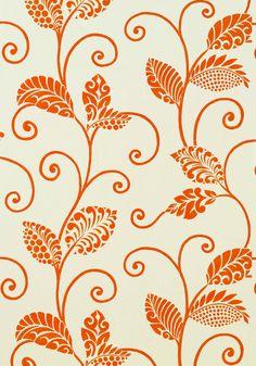 Waterbury wallpaper in Orange on Cream from the Avalon Collection by #Thibaut  #tangerinetango #jacobean print