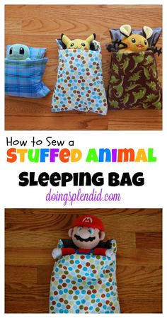 Stuffed Animal Sleeping Bags are a simple and fun sewing project that really puts a smile on children's faces. It's important of course that stuffed animals are warm and cozy too when it's time for bed! :)