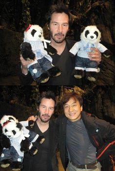 Keanu Reeves Poses With Jackie Chans Stuffed Pandas