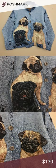Vintage Sugar Street Weavers Pugs Tapestry Jacket Vintage 1980s Sugar Street Weavers Pugs Pug Dog Show Novelty Jacket.   This woven jacket features three adorable pugs on the front & back with paw prints on a blue background. Soft, woven cotton tapestry blanket style. Lightweight & comfortable. Perfect for a dog show or showing your love of pugs! In excellent vintage condition with no major flaws. Size tag has been removed. Fits 10-12 Women's size.   Please see last image for measurements to…