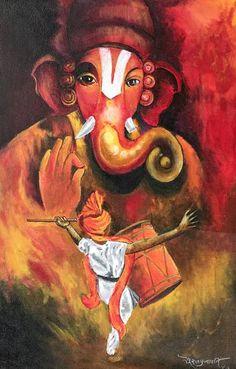Original Classical mythology Painting by Suraj Prajapati Ganesha Drawing, Lord Ganesha Paintings, Krishna Painting, Ganpati Drawing, Ganesha Sketch, Arte Ganesha, Arte Krishna, Lord Krishna, Poster Color Painting