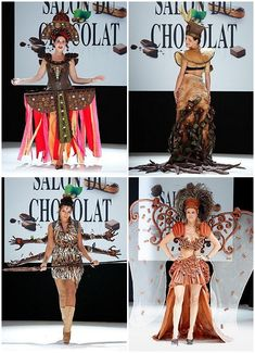 salon du chocolat - fashion show with dresses made of chocolate and candy