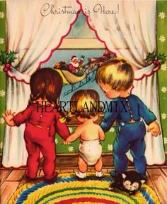 I love looking at vintage Christmas cards. We send cards out every year. It seems like no one writes anymore, no cards . Images Vintage, Vintage Christmas Images, Retro Christmas, Vintage Holiday, Christmas Pictures, Christmas Glitter, Vintage Greeting Cards, Christmas Greeting Cards, Christmas Greetings