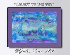 Ocean Painting, Abstract Art, Seascape, Canvas Print, Turquoise, Lilac, Blue, Water, Aqua, Sea, Waves, Modern, Wall Decor by Julia Apostolova