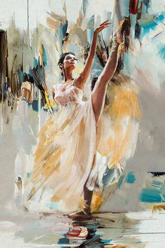 Oil painting of a ballerina by Artist Mahnoor Shah