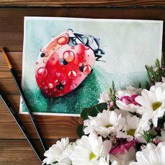 Watercolor ladybird by Ekaterina @ekaterinayourochkina, Russia. Акварельная божья коровка в исполнении Екатерины, Россия. #иллюстрация #живопись #искусство #графика #акварель #арт #art #illustration #pencil #drawing #draw #contemporaryart #watercolor #水彩画 #akvarell #aquarell #aquarelle #sketchbook #graphic #timetoart