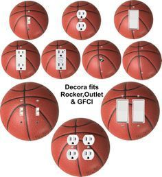 Basketball themed wall plate covers for light switch, toggle, duplex, outlet, decora, rocker, GFCI, cable or blank as well as doubles