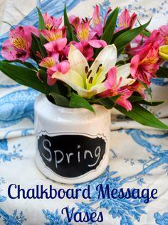 Chalkboard Message Flower Vases