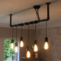 Industrial Black Iron Pipe Wrap Lighting Chandelier – free UK P&P - Beleuchtung Pipe Lighting, Edison Lighting, Industrial Lighting, Edison Bulb Chandelier, Industrial Light Fixtures, Black Chandelier, Kitchen Lighting, Ceiling Rose, Ceiling Lights
