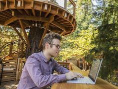 Microsoft constructed a new tree house meeting spaces for their employees.   Our World Stuff