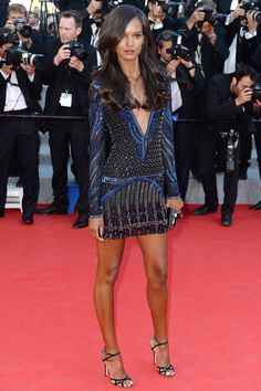 Liya Kebede wore a Roberto Cavalli dress with heels and a clutch by Jimmy Choo.