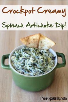 Crockpot Creamy Spinach Artichoke Dip Recipe - from TheFrugalGirls.com