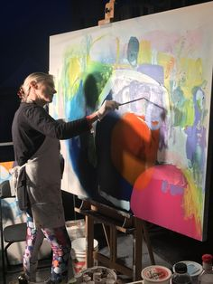 Claire Desjardins, live painting to the music of Annakin Slayd and supergroup Styx, at Strangers in the Night 2017 gourmet gala event! Money raised for the sale of this painting was given to charity. #ClaireDesjardins #ClaireDesjardinsArt #SITN2017 #ArtForCharity #BenefitConcert #LivePainting #LiveAuction #Art #Painting #charityauction #charity