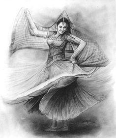 Dancing moods (drawing), in by laxman kumar artist delhi Pencil Drawing Images, Abstract Pencil Drawings, Dark Art Drawings, Dance Paintings, Indian Art Paintings, Girl Drawing Sketches, Art Drawings Sketches Simple, Lady Drawing, Indian Drawing