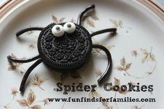 Nice ice breaker activity at the bday party. Let kids assemble their own spider cookies. Yum. Fun.