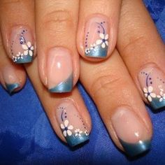 summer nail tips Makeup Tutorials Flower Nail Designs, French Nail Designs, Colorful Nail Designs, Nail Art Designs, Nails Design, French Manicure Nails, French Tip Nails, French Tips, Fancy Nails