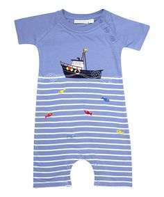 Blue & White Stripe Fishing Romper - Infant by JoJo Maman Bébé #zulily #zulilyfinds