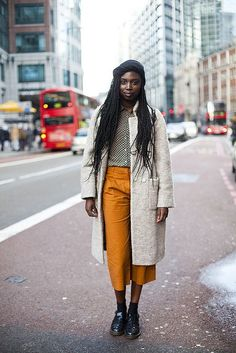 Neutral Coat with Bright Trousers | STYLE