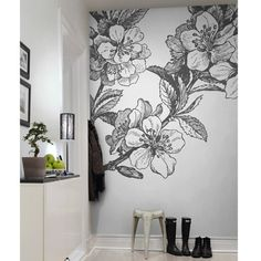 Rebel Walls - Springtime Mural - Black & White