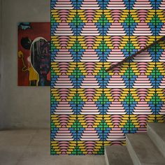 In Paradise, renowned printmaker Peter Judson pays homage to Formalism, Modernism and the Memphis movement. An uplifting design for a feature wall or a statement room. Feathr wallpapers are manufactured on a luxuri. Wallpaper Crafts, Art Deco Wallpaper, Retro Wallpaper, Modern Wallpaper, Geometric Wallpaper, Original Wallpaper, Colorful Wallpaper, Designer Wallpaper, Paradise Wallpaper