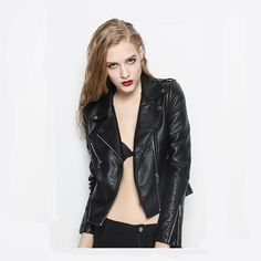 Motor Biker PU Leather Jackets Short Black Punk Coat WJ324