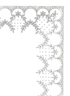 A adapter au pergamano Border Embroidery Designs, Cutwork Embroidery, Embroidery Transfers, Vintage Embroidery, Cross Stitch Embroidery, Embroidery Patterns, Machine Embroidery, Diy Broderie, Parchment Cards