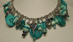 Paper Bead Jewlery Charm Style Bracelet by deeann7 on Etsy