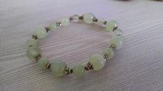 white green natural Jade stone bracelet  ET12J521 by JPLIGallery