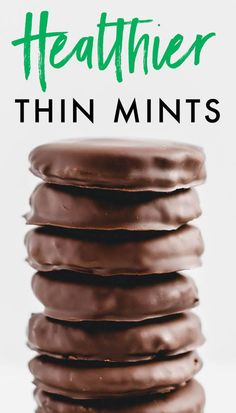 Make healthy Thin Mints at home with this easy recipe! The crispy cookies are made with almond flour and maple syrup and coated in dark chocolate. Vegan + gluten-free. #glutenfree #vegan #thinmints #healthy #cookies #girlscoutcookies #copycat