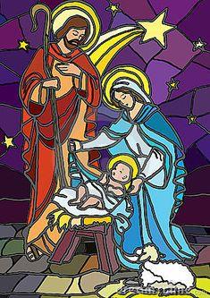 Natividad en vidrio manchado.