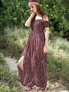 Off The Shoulder Short Sleeve High Slit Maxi Dress - WINE RED M