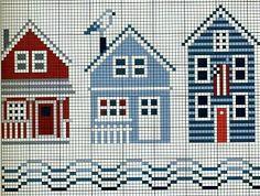 Beach houses cross stitch pattern