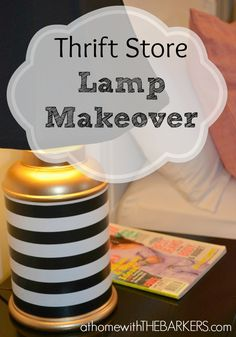 Gold Spray paint, Mod Podge and gift wrap turn a thrift store lamp in to a modern new lamp! #athomewiththebarkers