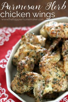Parmesan Herb Chicken Wings Recipe- a great healthy dinner or party appetizer that's ALWAYS a huge hit!